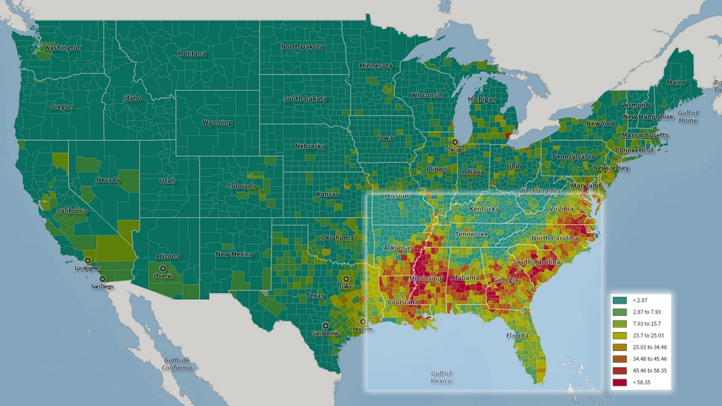 Total population, black or African American alone, U.S. Census, 2010.