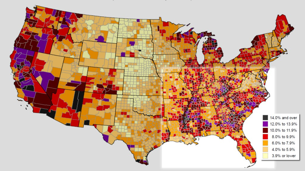 Unemployment rates by county, August 2012 to July 2013, U.S. Bureau of Labor Statistics.