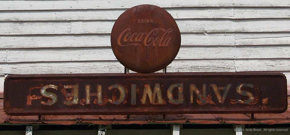 Neat sign on old store, Ebony, Va.  Photo by Andy Brack.